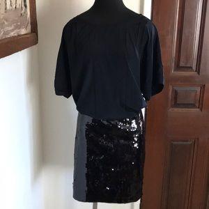 DKNY silk dress with sequin skirt